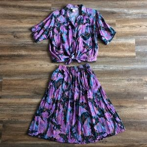 Philip Lawrence • vtg matching skirt patterned set